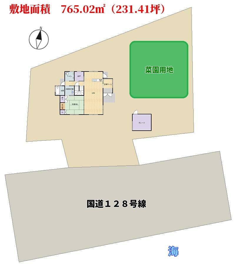 千葉県鴨川市天面の海前の不動産、敷地概略図