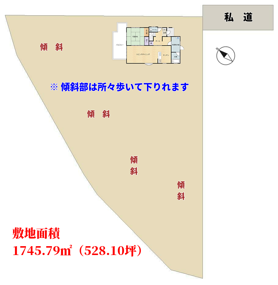 千葉県館山市加賀名の不動産、海が見える館山ポピーランドの別荘敷地図