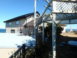 千葉県館山市加賀名の不動産、海が見える別荘、ポピーランド、海一望、斜面も含め敷地は528坪