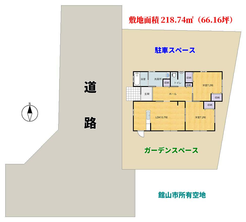 千葉県館山市北条の不動産、中古別荘敷地概略図