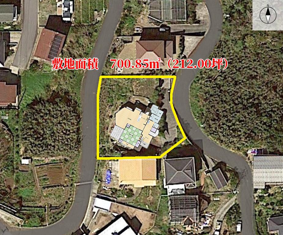 千葉県館山市加賀名ポピーランドの別荘、海一望物件の敷地概略図