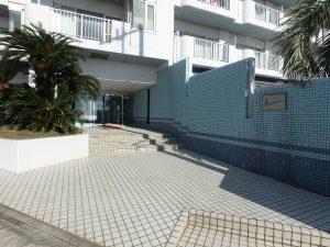 千葉県南房総市白浜町滝口のマンション、アレーヌ白浜、別荘、海一望、マンション内に入ります