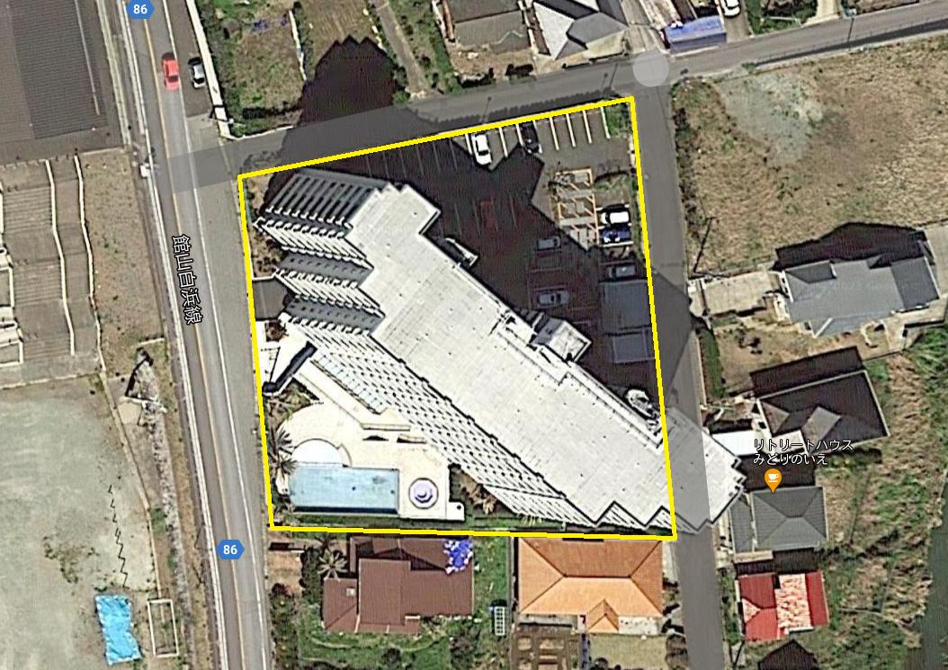 白浜町滝口のマンション、アレーヌ白浜の敷地概略