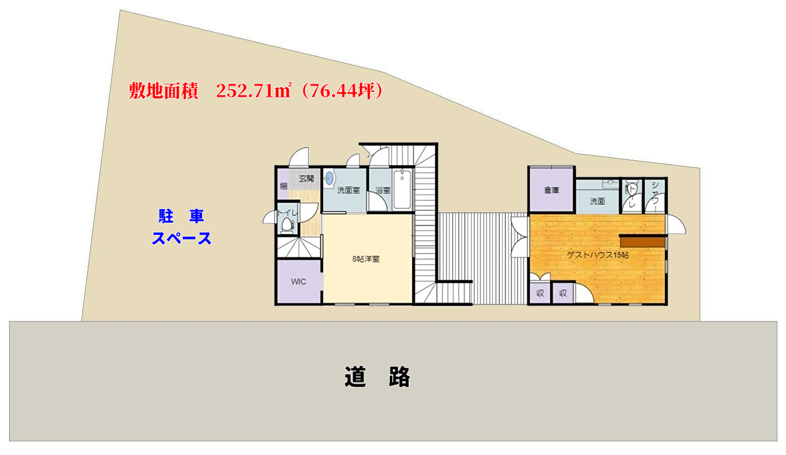 南房総市和田町白渚の不動産、海が見える別荘、敷地概略図