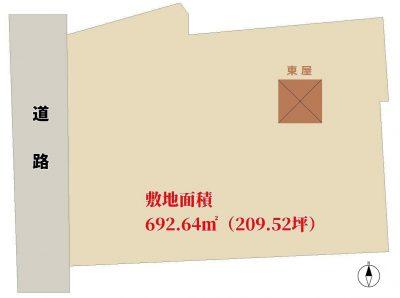 海近売地 館山市北条 692.64㎡(209.52坪) 2780万円 物件概略図