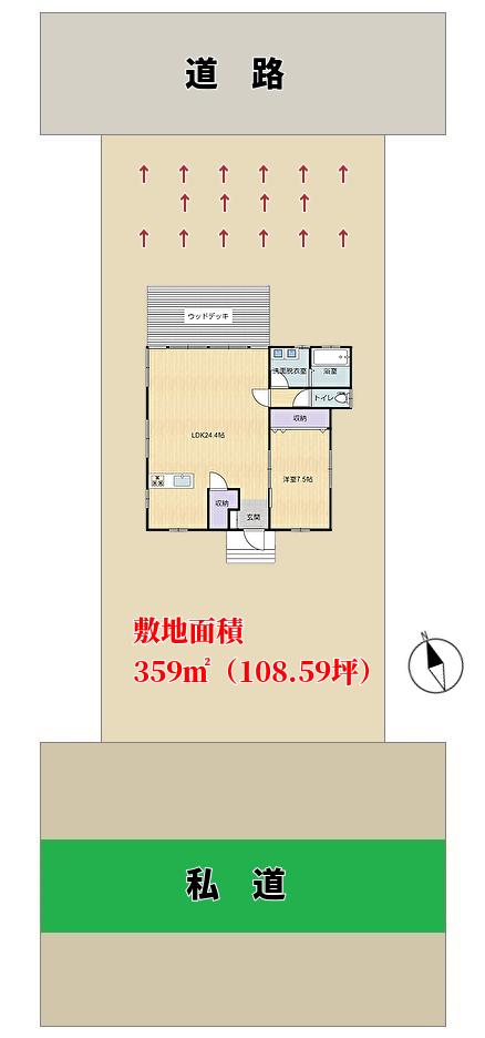 千葉県南房総市高崎の不動産、ハーバーアイランド岩井の別荘概略図