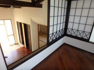 千葉県鴨川市二子の不動産、海が見える別荘、二子棚田、おしゃれ、障子を開けると下に玄関