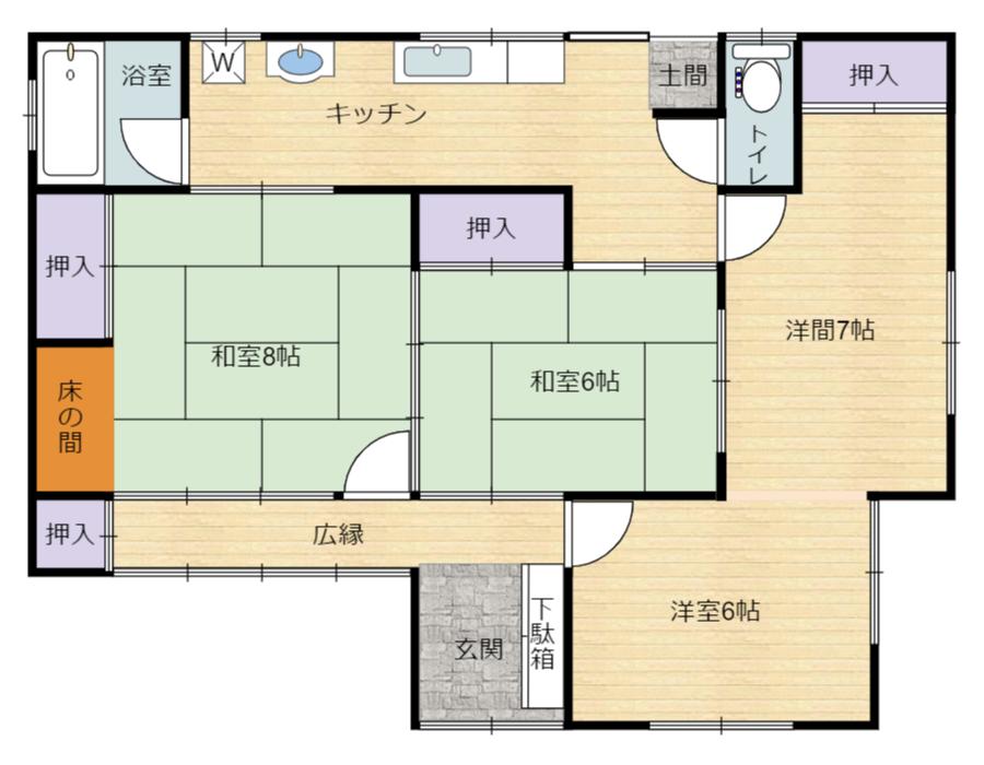 千葉県館山市上真倉の不動産、平屋建て中古住宅、間取り図