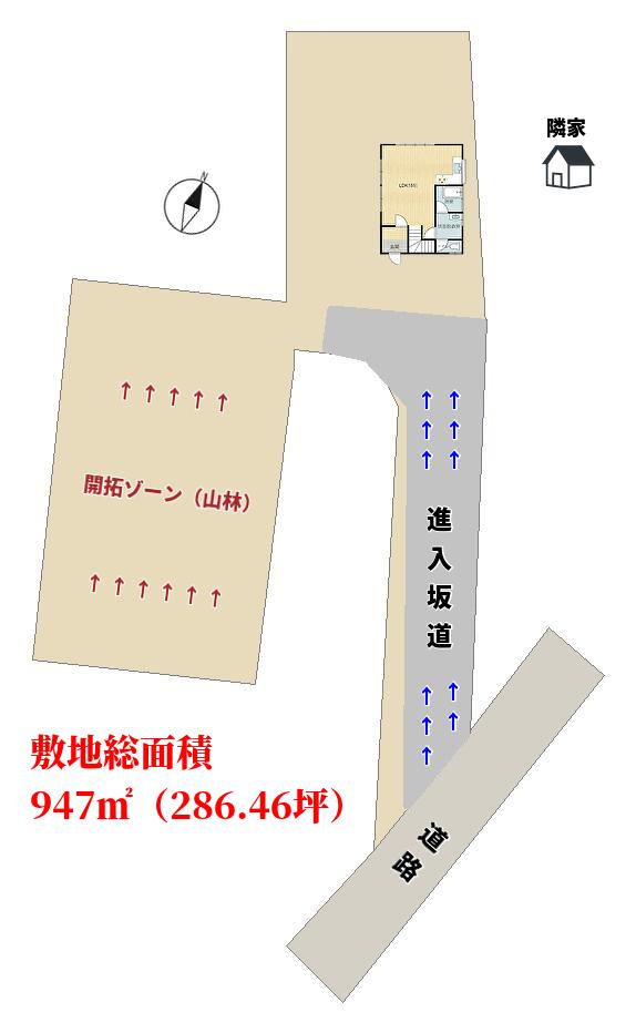 千葉県館山市神余の不動産、別荘山林の敷地概略図
