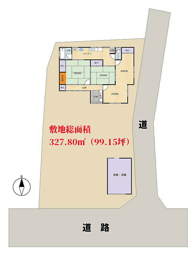 千葉県館山市上真倉の不動産、中古住宅、敷地概略図
