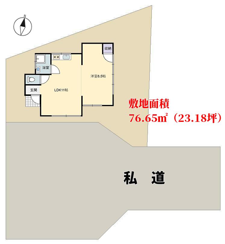 千葉県館山市波左間の不動産、敷地概略図