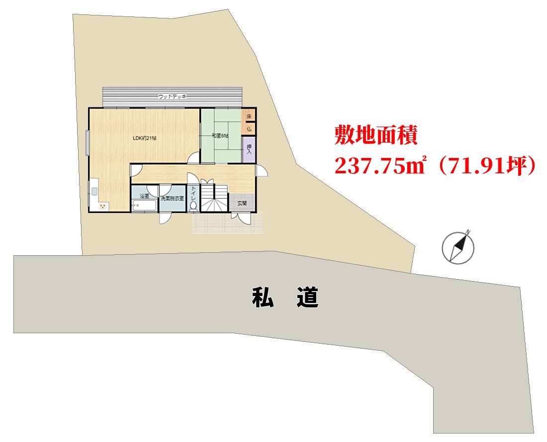 千葉県鴨川市太尾の不動産、戸建て、物件敷地概略図