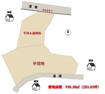海望高台売地 鴨川市貝渚 938.38㎡(283.85坪) 2480万円 物件概略図