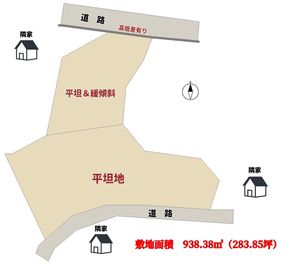 千葉県鴨川市貝渚の不動産、海が見える土地、物件敷地概略図