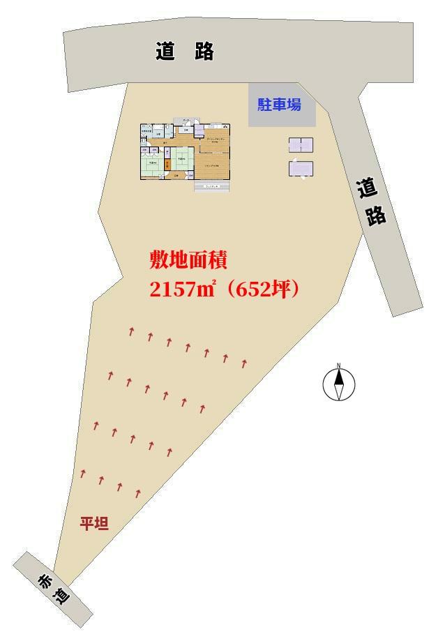 千葉県館山市神余の不動産、売り別荘敷地概略図