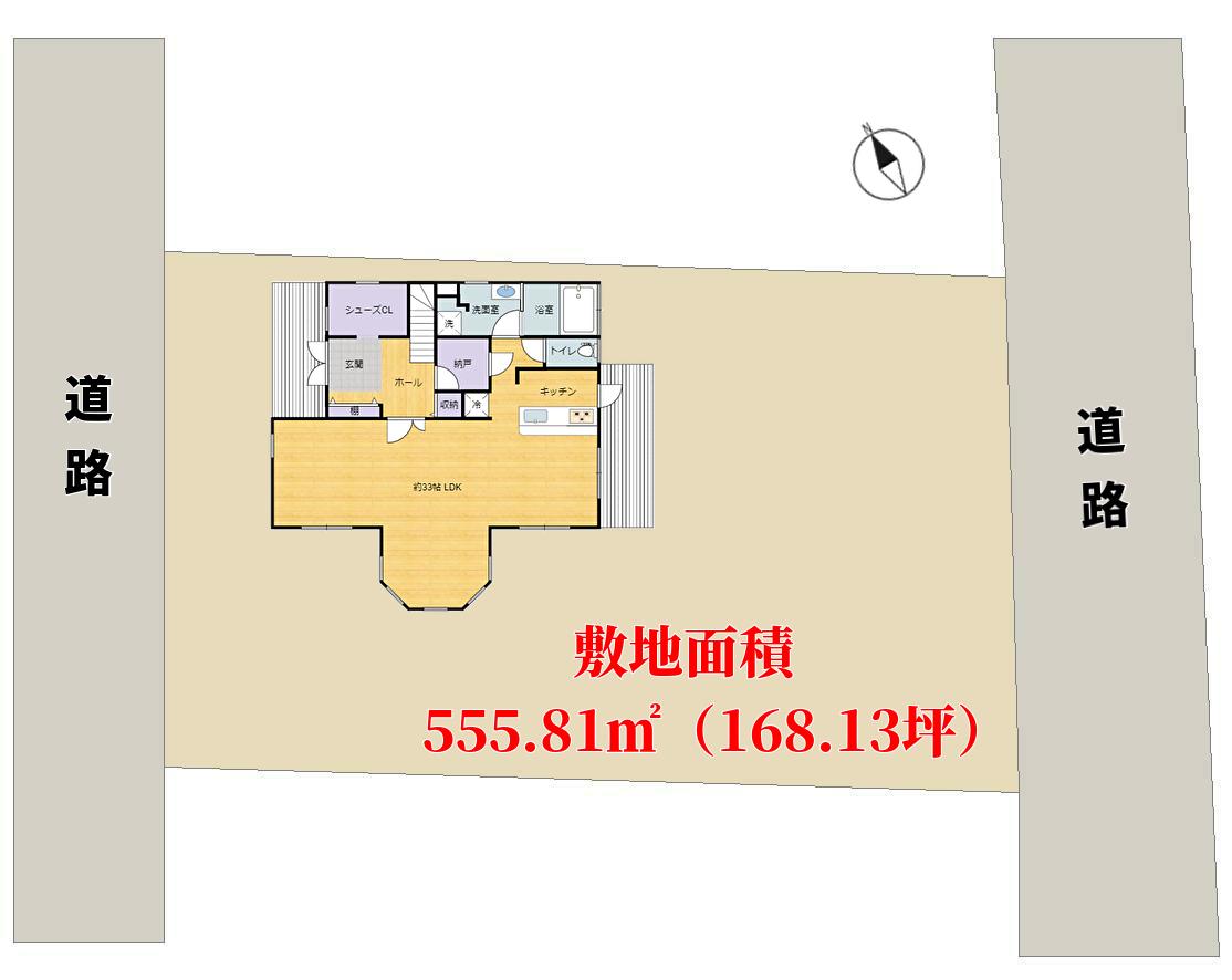 千葉県館山市神余(東虹苑)の不動産、売り別荘、敷地概略