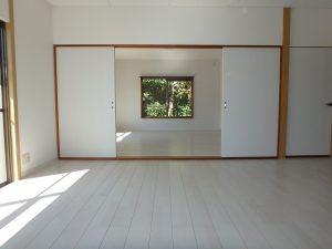 千葉県富津市六野の不動産、田舎暮らし向き平家、移住、リビングとオープンの洋室