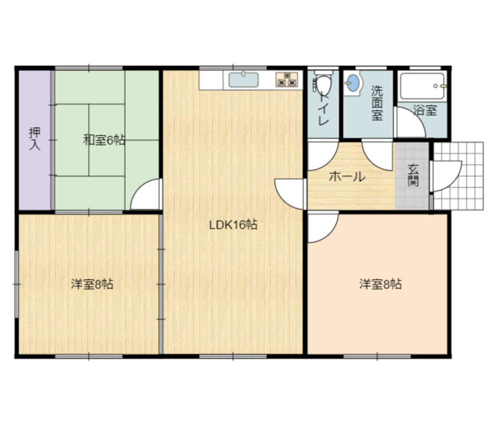 千葉県富津市六野の不動産、売却物件、平家の間取り図