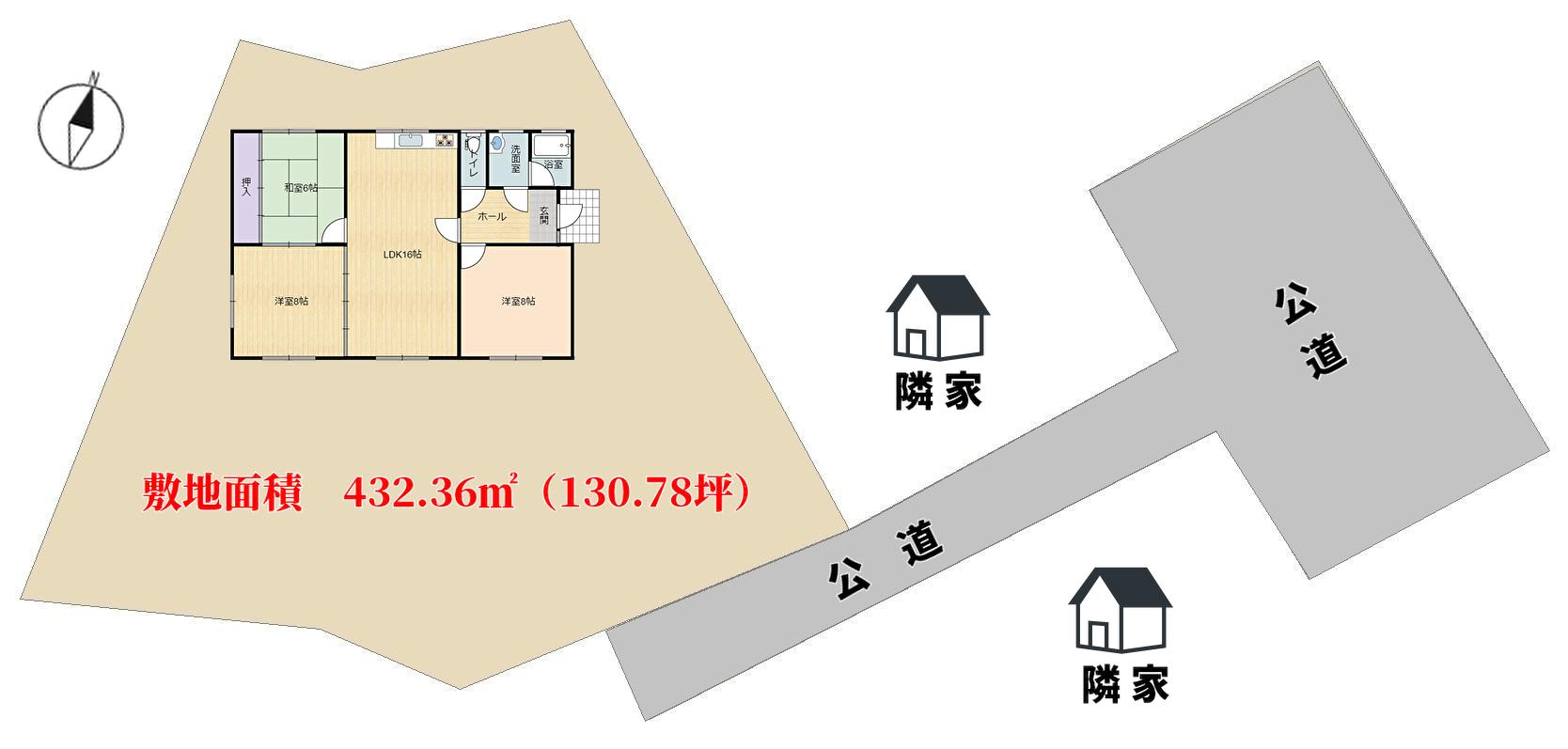 千葉県富津市六野の不動産、田舎暮らし向き物件、敷地概略図